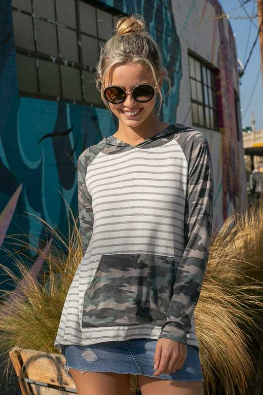 CAMOUFLAGE STRIPE MIXED POCKET HOODIE HIGH LOW TOP