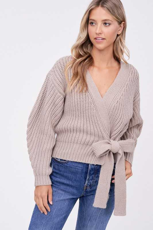 SHORT WRAP FRONT CARDIGAN