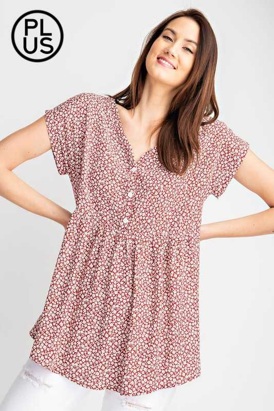 Plus Floral Printed Baby doll Short Sleeve Top