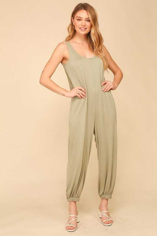 Sleeveless knit round neck knee length jumpsuit