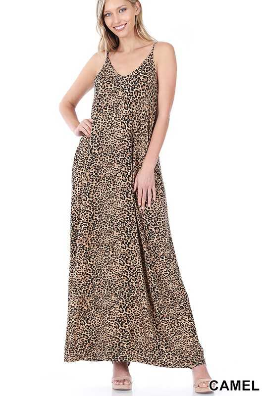 LEOPARD PRINT CAMI MAXI DRESS WITH POCKETS