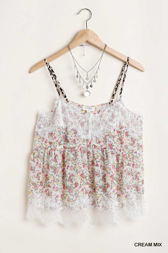 Sleeveless Floral Print Top with Lace Trim Details