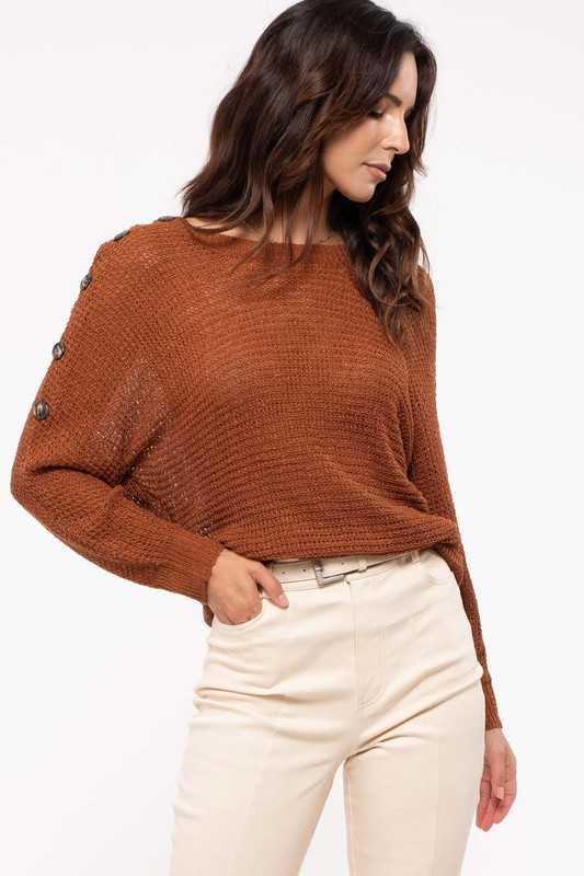 Shoulder Button Dolman Sleeve Sweater