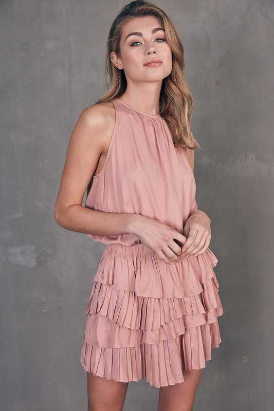 SLEEVELESS RUFFLE PLEATED DRESS