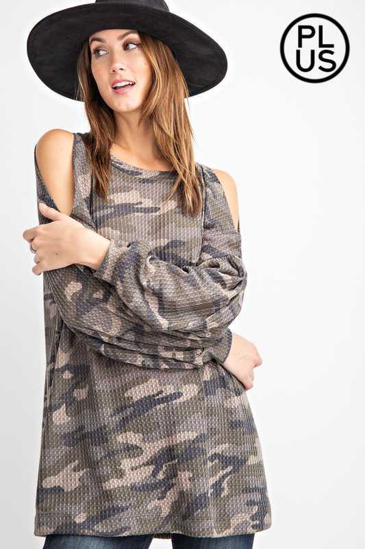Plus Camo Printed Cold Shoulder Waffle Top