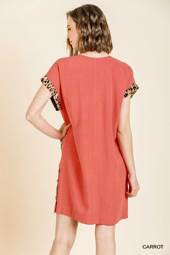 Animal Print Short Folded Sleeve V Neck Dress