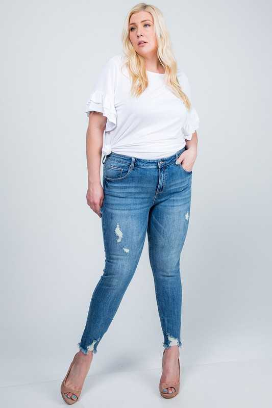 MID RISE SKINNY WITH DESTROYED HEM