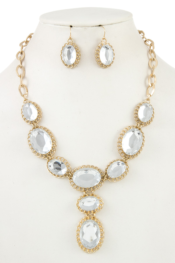 Jewelry & Watches Faceted Crystal Gem Link Bib Necklace Set a