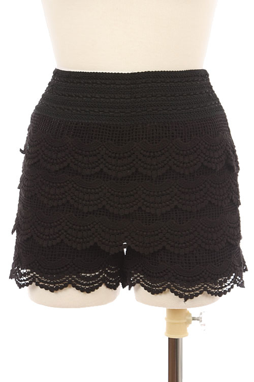 Crochet Tiered Knit Shorts