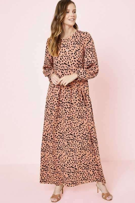 Dotted Asymmetrical Ruffle Maxi Dress