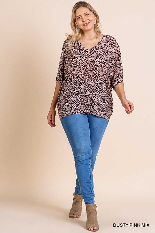 ANIMAL PRINT V NECK CRISS CROSS KNOT BACK TOP