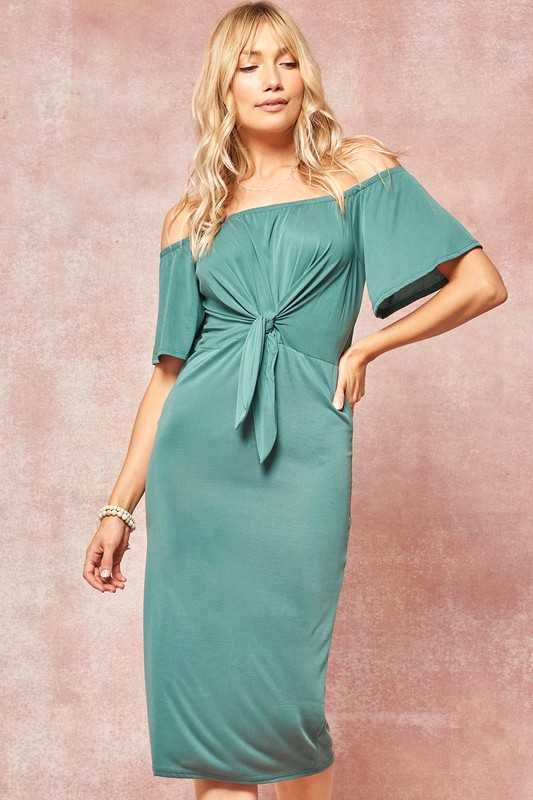 Tie-Front Off Shoulder Modal Midi Dress