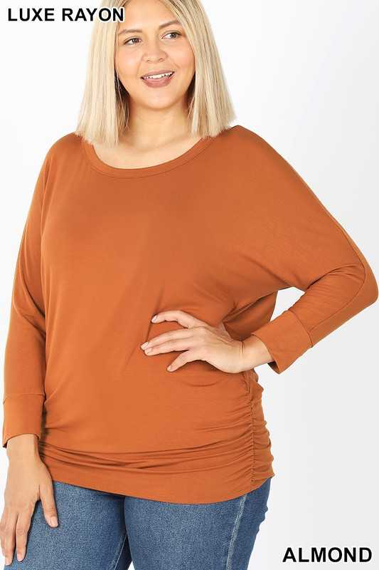 PLUS LUXE RAYON BOAT NECK 3/4 SLEEVE TOP SHIRRED
