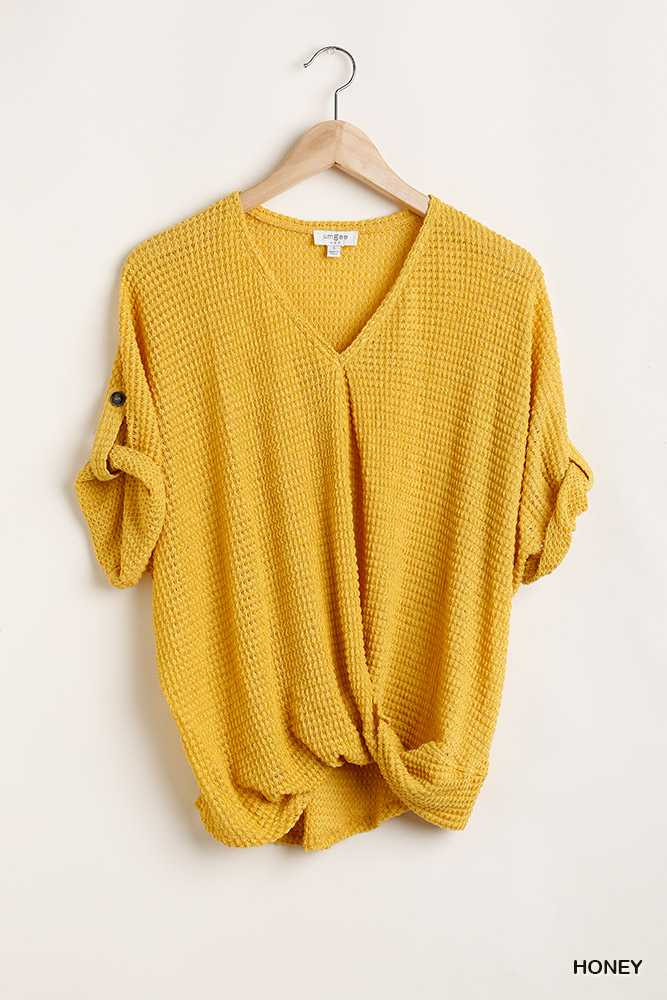 Light Thermal V Neck Knit Top with Tab Sleeve Details
