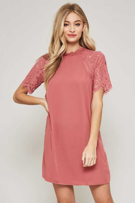 Floral Lace Sleeve Mini Shift Dress