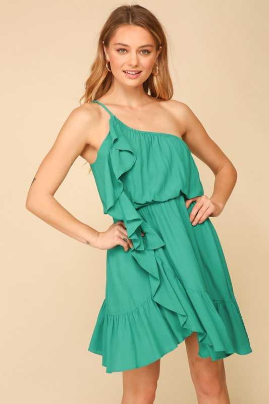 One shoulder midi dress with one side ruffle detail