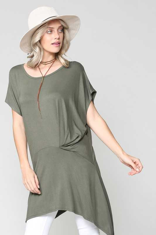 SOLID HIGH LOW HEM CAP SLEEVE TUNIC