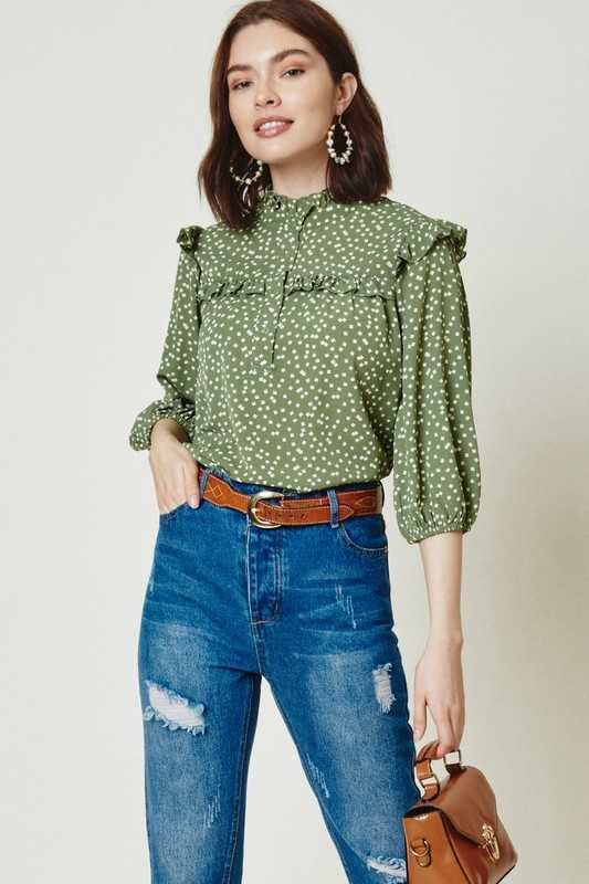 Button-Down Ruffle Collar Blouse
