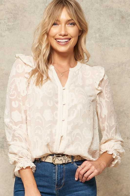 Floral Burnout Ruffle-Trimmed Button-Down Top