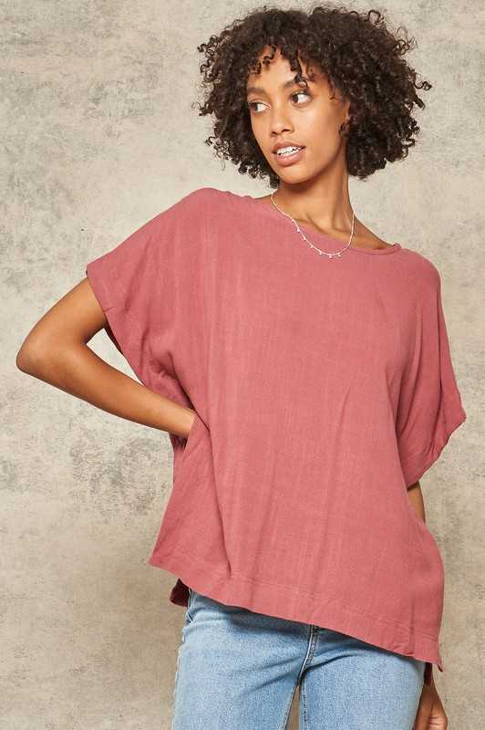 Drawstring-Sleeve Poncho Top with Side Slits
