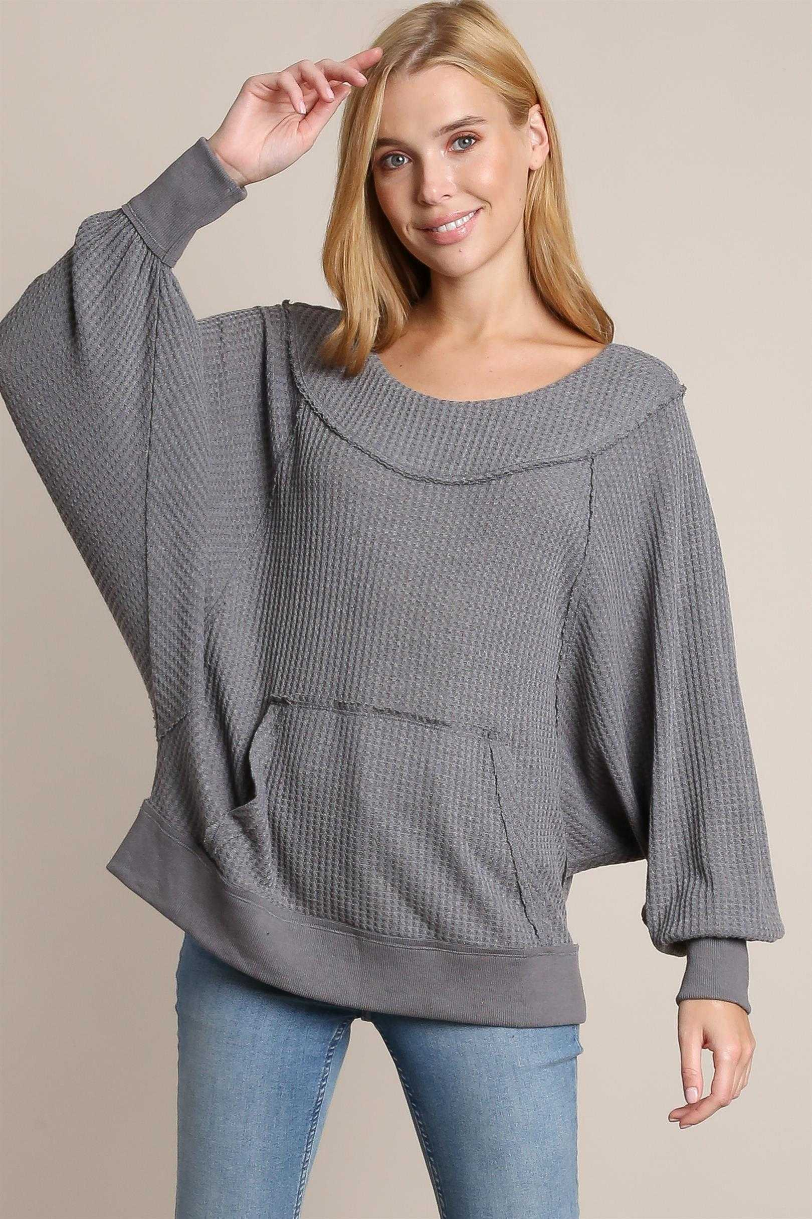 Waffle knit off shoulder top