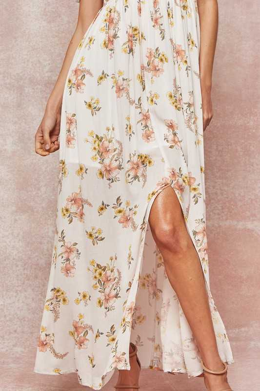 Floral Smocked Strapless Empire-Waist Maxi Dress