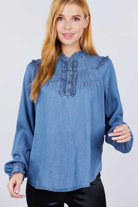 LONG SLEEVE MOCK NECK FRILL DETAIL TENCEL TOP