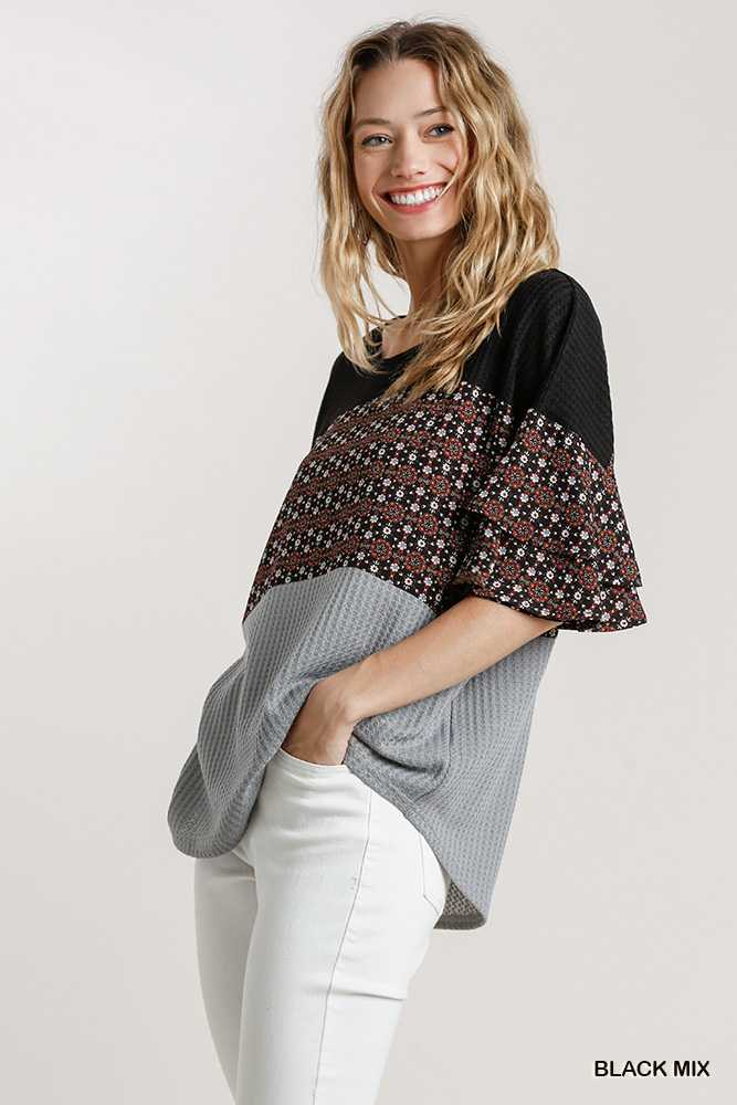 Floral Print Colorblock Waffle Knit Top
