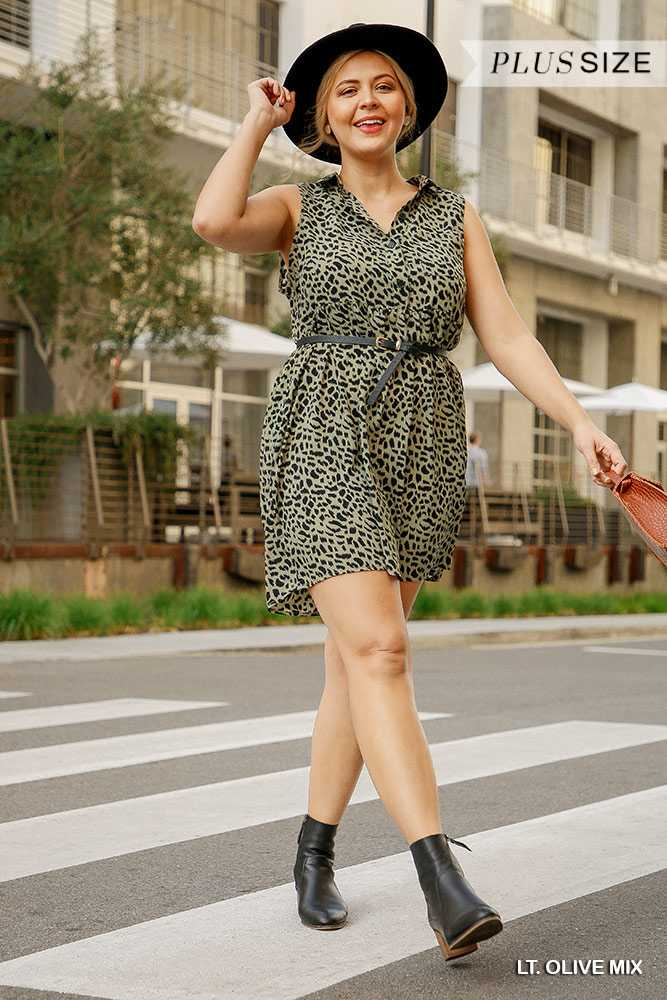 Sleeveless Button Front Collared Dress