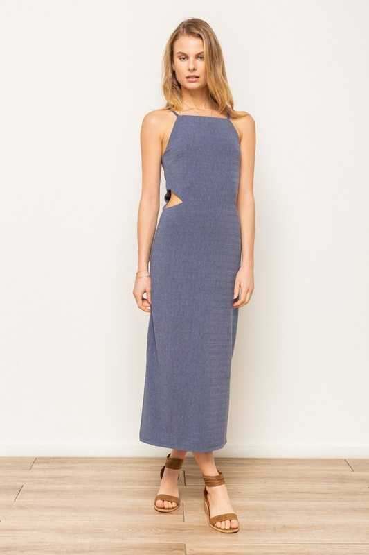 HEATHER RIBBED SIDE WAIST CUTOUT MIDI DRESS