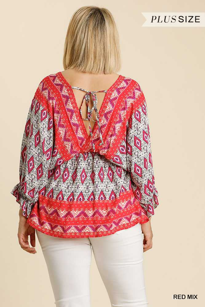 Printed V-Neck Ruffle Cuffed Long Sleeve Top