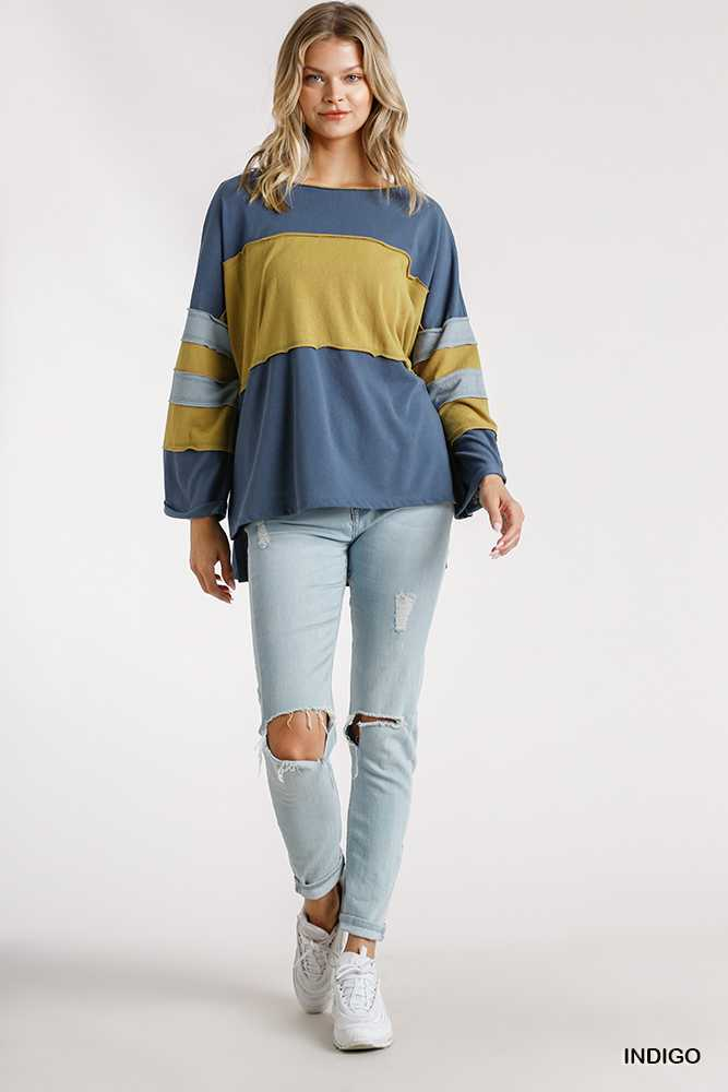Colorblock Long Folded Sleeve Raw Edged Detail Top