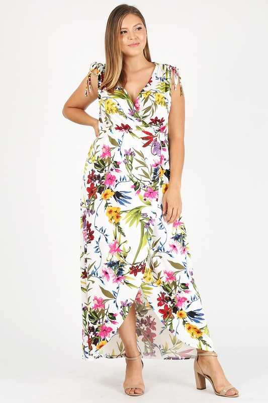 Plus Size Floral Sleeveless Faux Wrap Maxi Dress