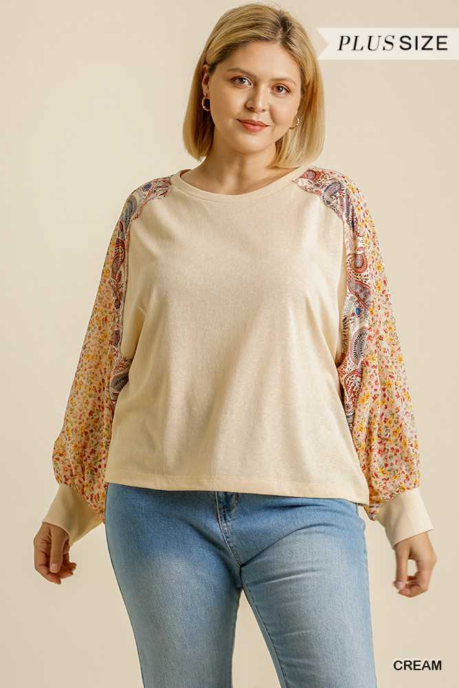 Multi Print Long Raglan Sleeve Round Neck Top