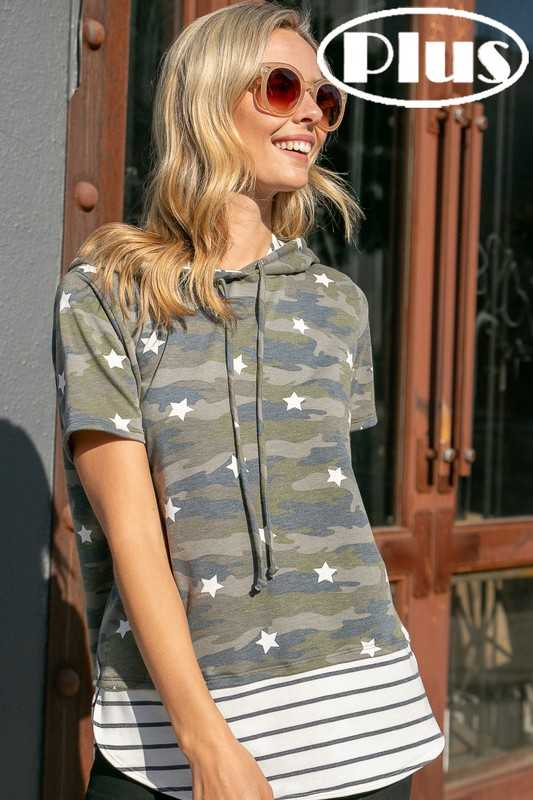 TERRY CAMOUFLAGE STRIPE MIXED HOODIE PLUS TOP