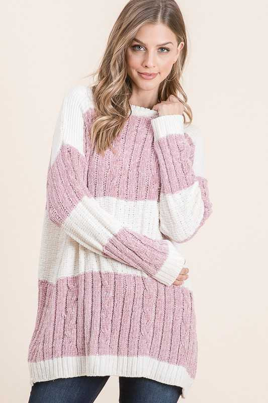STRIPED OVERSIZE LONG SLEEVE CHENILLE SWEATER