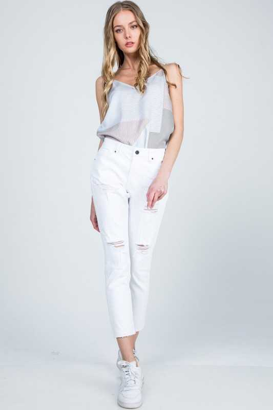 DISTRESSED MID RISE RELAXED SKINNY