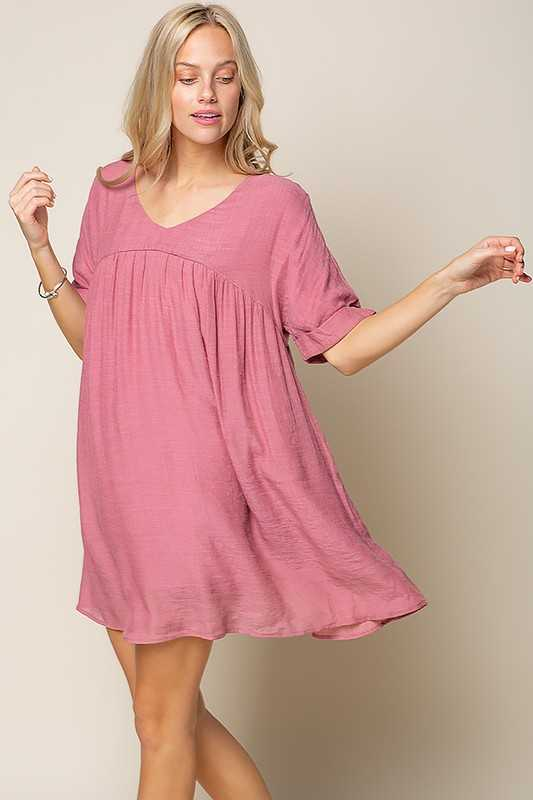 TEXTURED WOVEN FABRIC V NECK DRESS