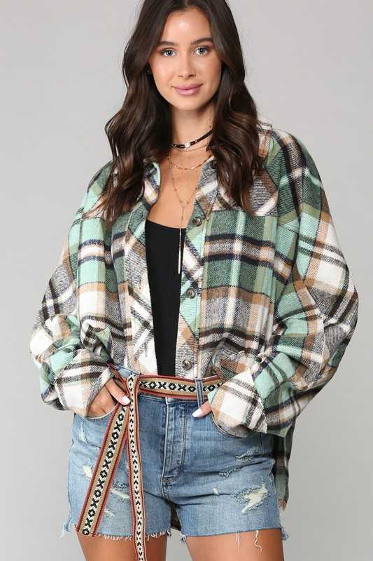PLAID PRINT AND BUTTON-FRONT TOP