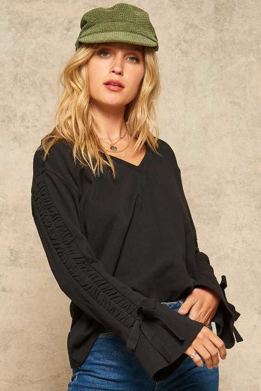 Gathered Trumpet Sleeve Keyhole-Back Knit Top