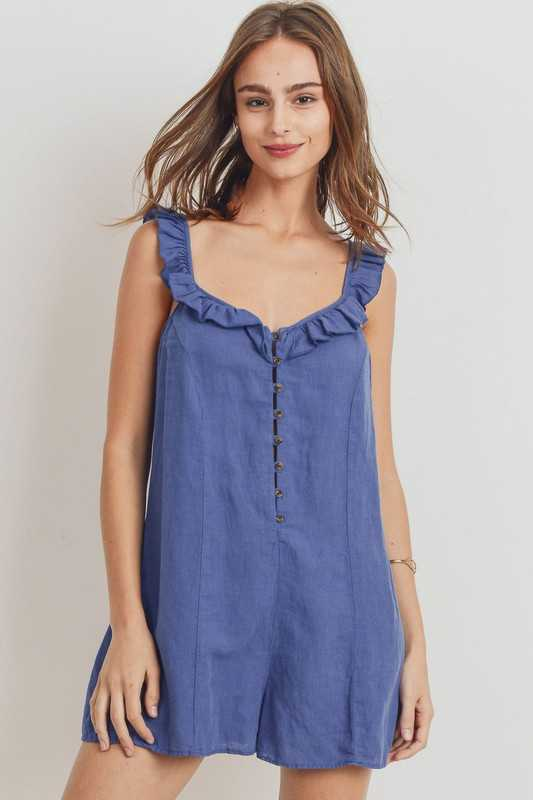 Buttoned Ruffled Strap Rompers