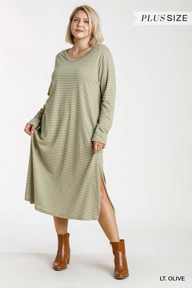 Striped Round Neck Long Sleeve Raw Edged Maxi Dress