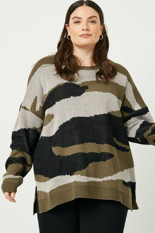 Plus Camo Knit Sweater