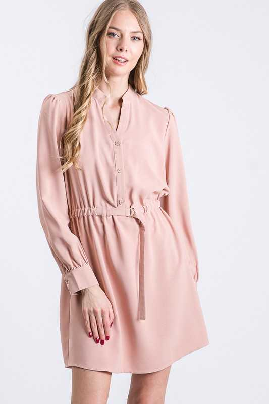 Blush Belted Half Shirt Dress