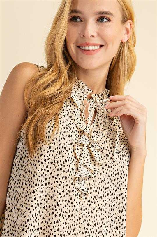 Animal Print Ruffled Front Top