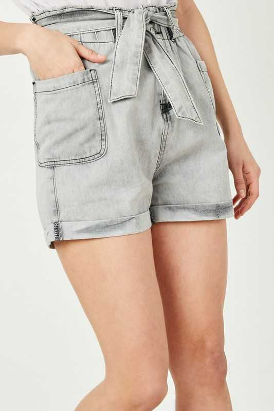 Womens Belted Washed Denim Shorts