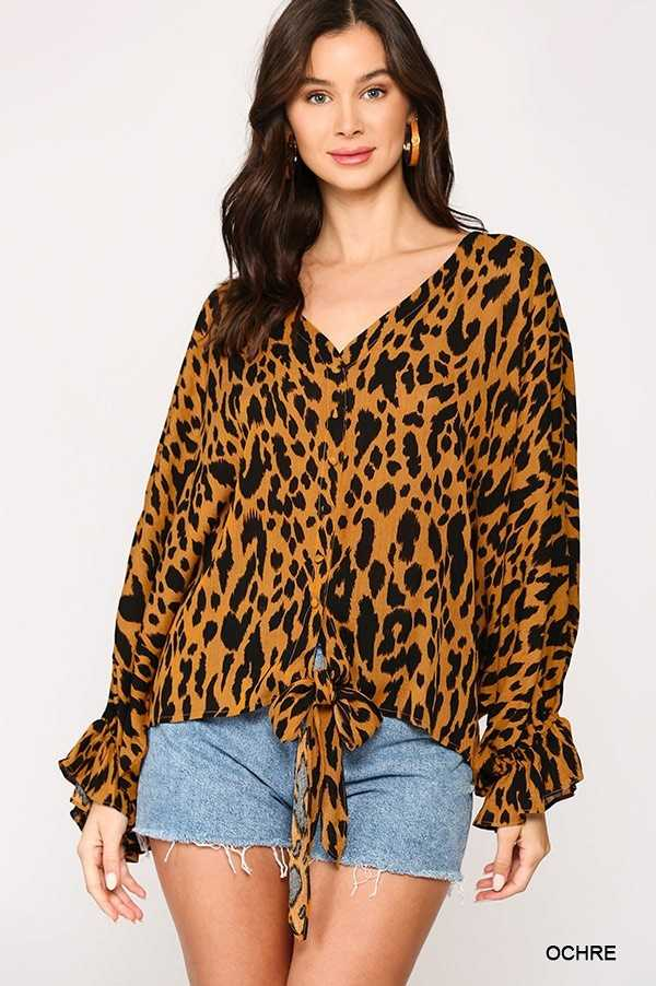 ANIMAL PRINT BALLOON RUFFLE CUFF SLEEVE V NECK BLOUSE