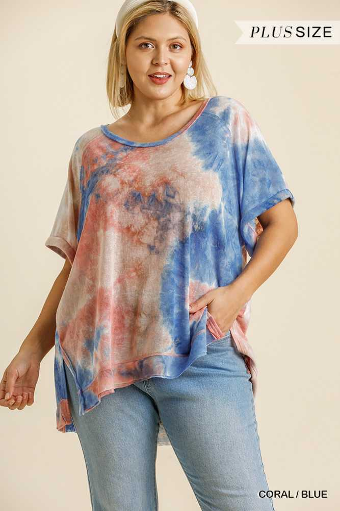 Tie Dye Round Neck Short Folded Sleeve Top