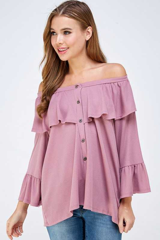 Button down ruffle top