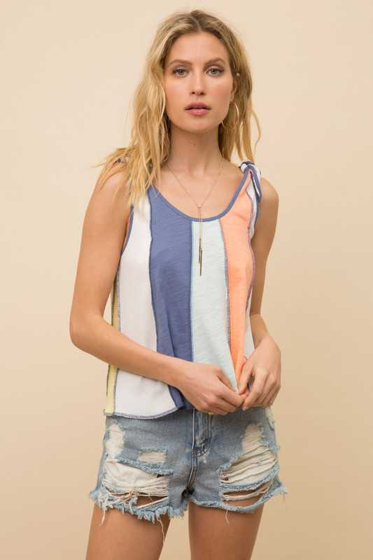 MULTI COLOR BLOCK SLEEVELESS TOP